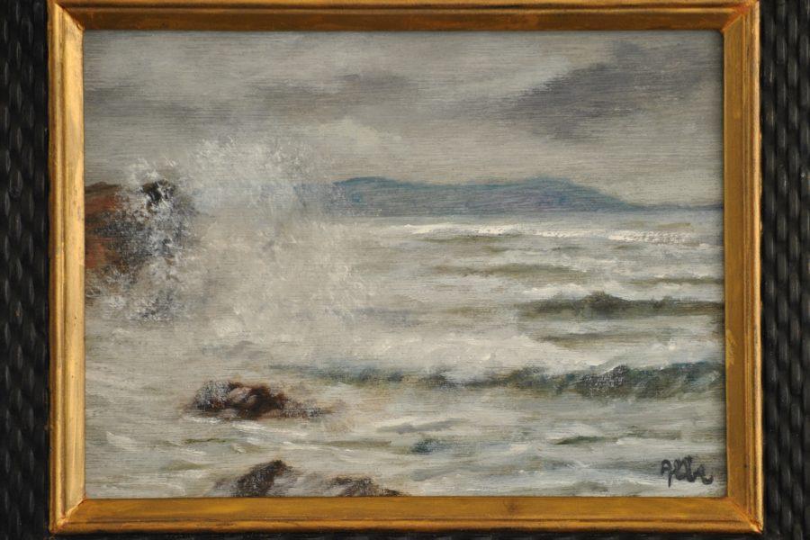 Marina d'inverno- olio su tavola- cm24x18