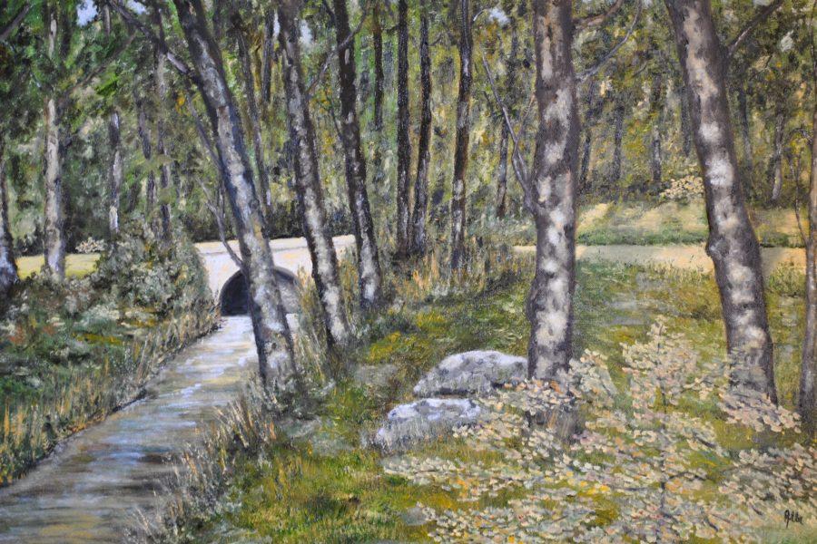 Ponte nel bosco- olio su tela- cm 70x50