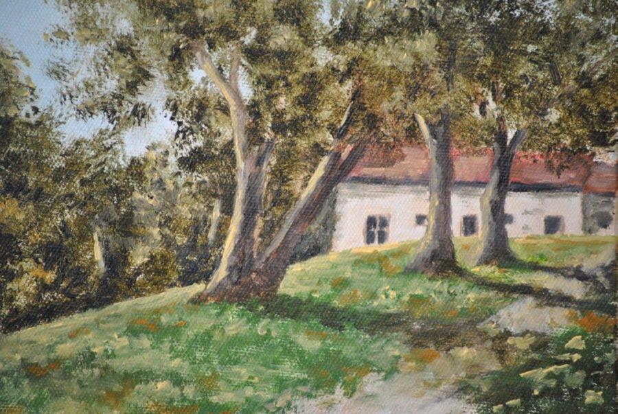 """Casa tra gli olivi"" olio su tavola cm 24×18"