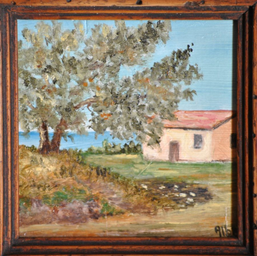 """Casetta al mare"" olio su tavola cm 12×12"