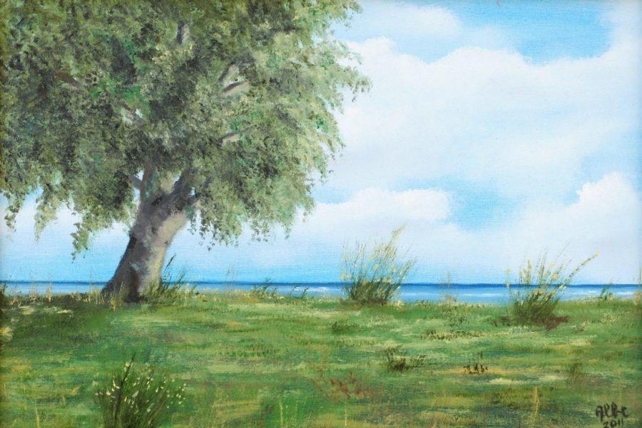 """""""In riva al mare"""" olio su tavola"""