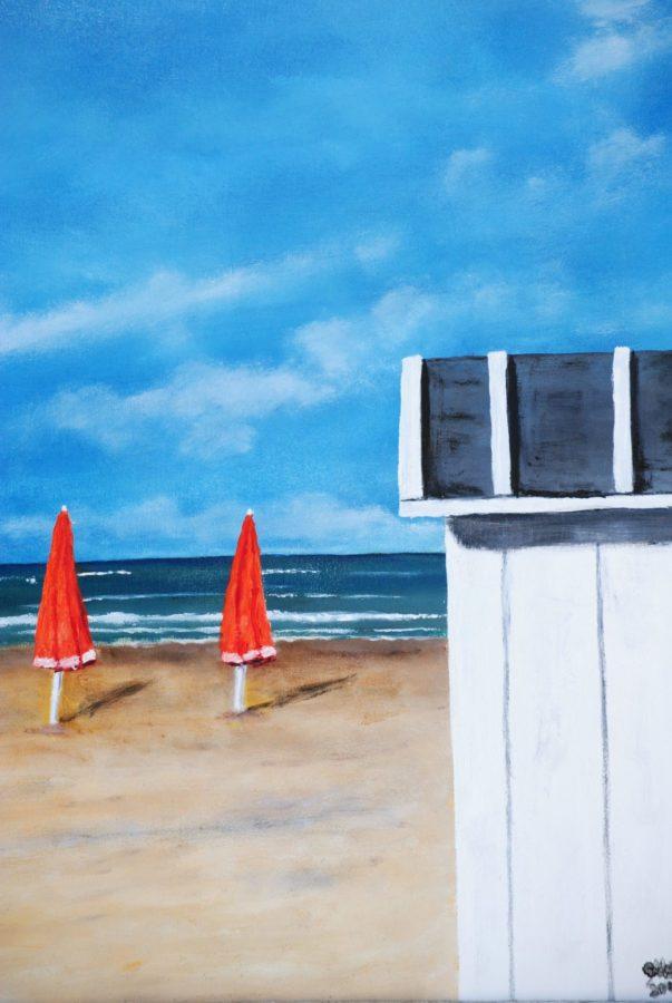 """""""Gli ombrelloni rossi"""" olio su tela cm 30×40"""