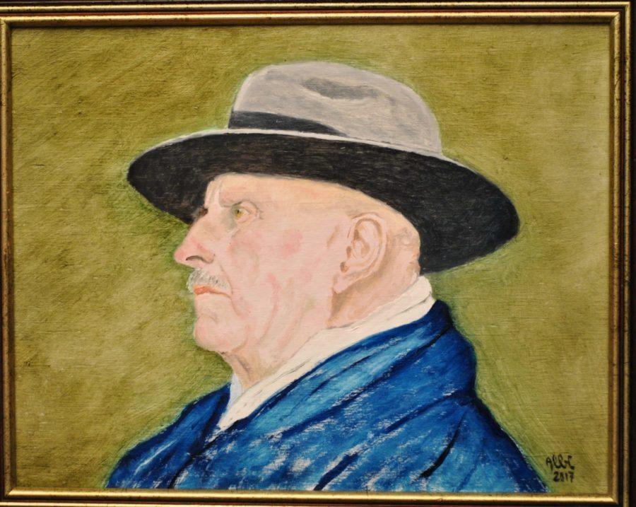"""""""Self portrait (con cappello e baffi)"""" olio su tavola"""