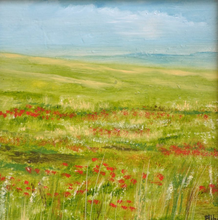 """Verde e rosso"" olio su tavola cm 22×22"