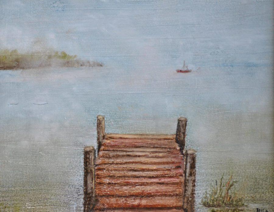 """""""Il pontile nella nebbia"""" olio su tavola cm 25×21"""
