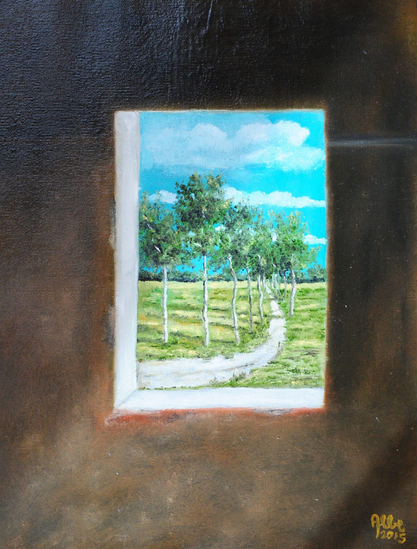 """""""Dalla finestra"""" olio su tavola cm 30×40"""