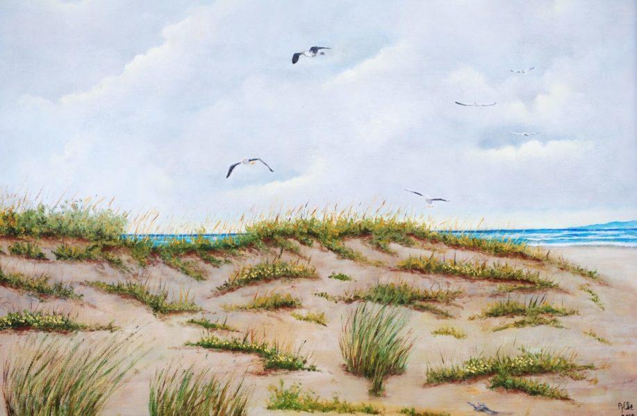 """""""Dune con gabbiani"""" olio su tela cm 70×50"""