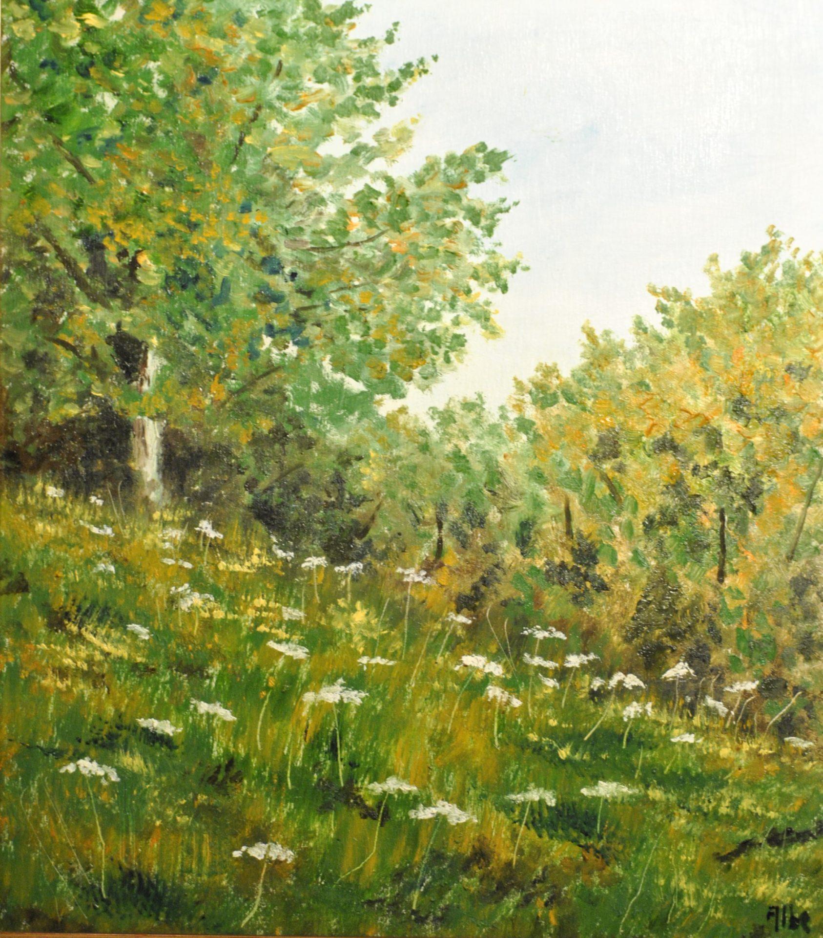 """Fiori bianchi"" olio su tavola cm 27 x30"