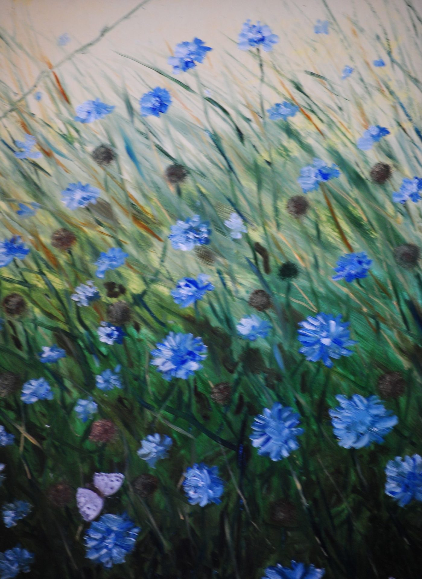 """Fiori blu"" olio su cartone telato cm 30×40"