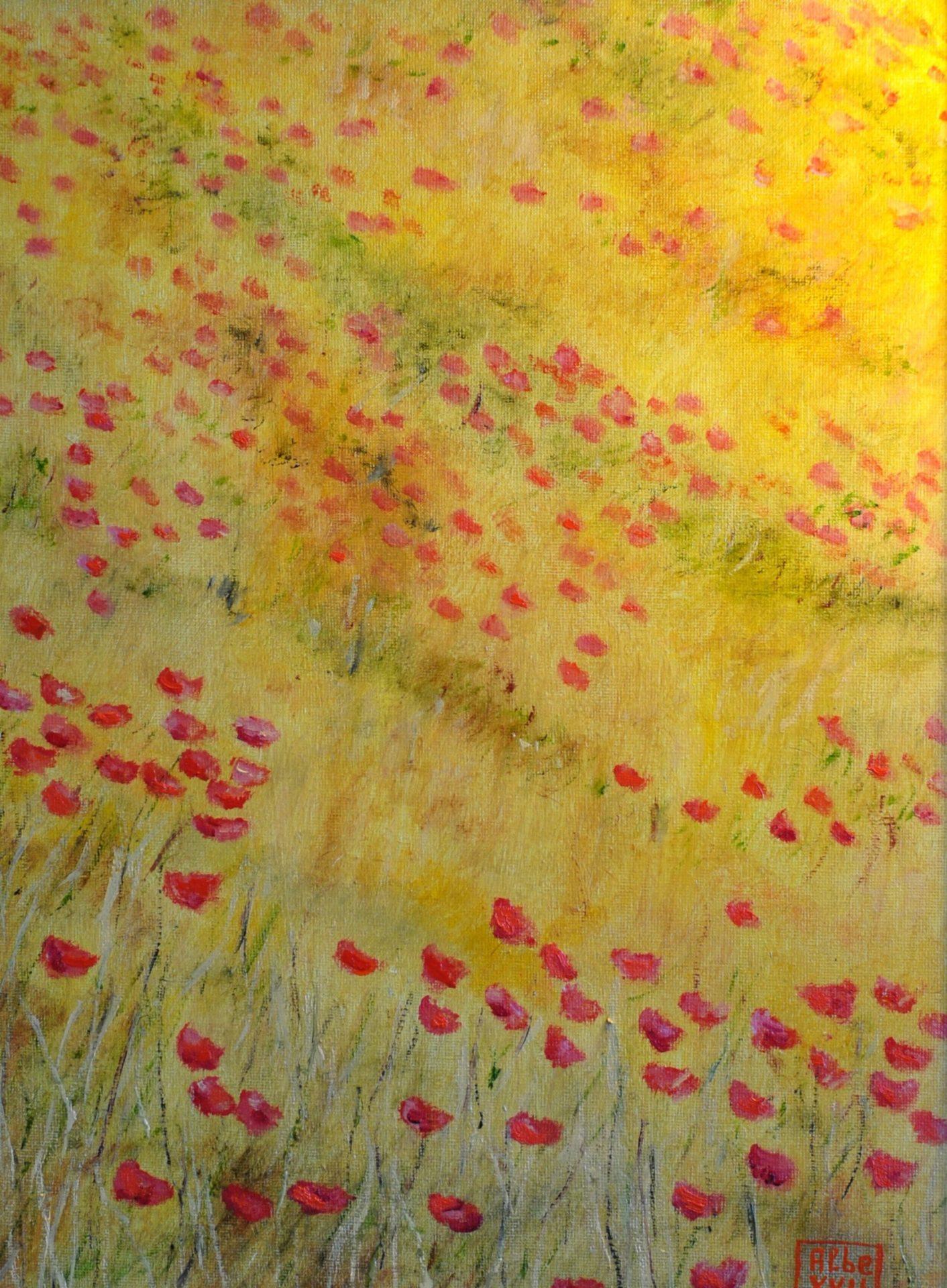 """""""Giallo e rosso"""" olio su tela cm 30×40"""