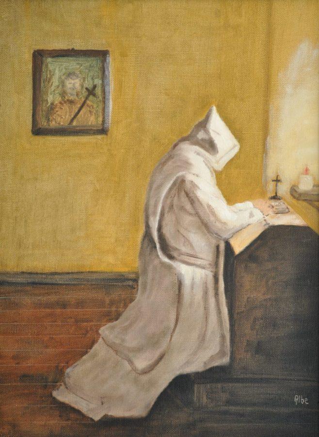 """La preghiera"" olio su tela cm 30×40"