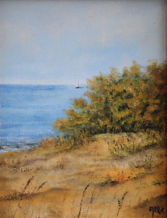 """""""Litorale toscano"""" olio su tavola cm 17×21"""