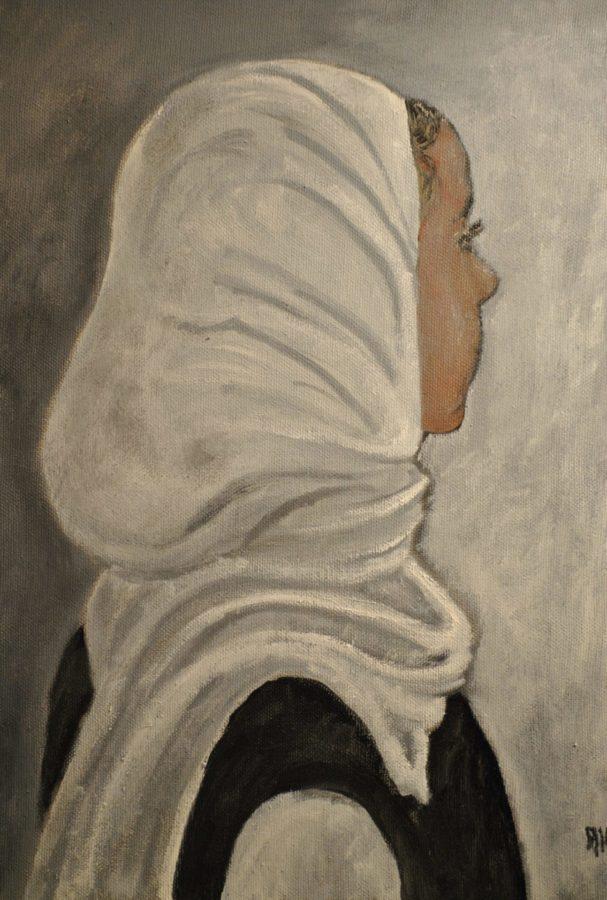 """Lo Hijab bianco"" olio su tela cm 30×40"
