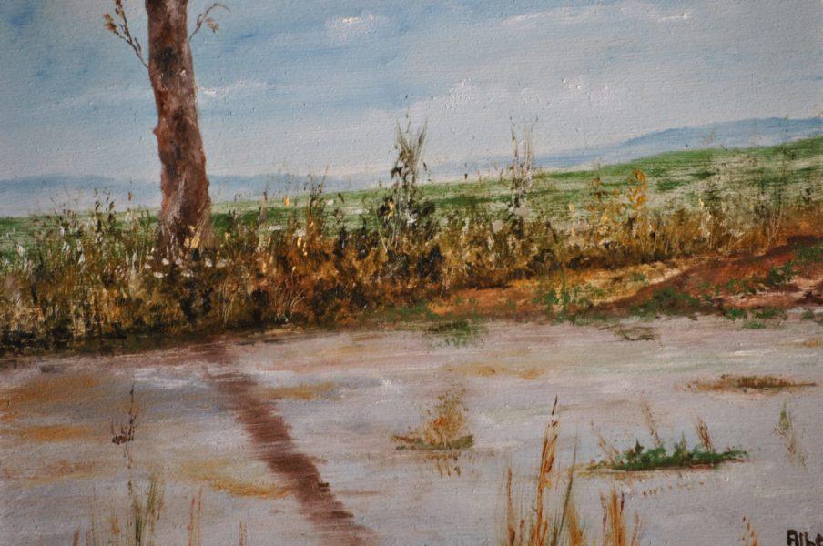 """Lo stagno"" olio su tavola cm 30×25"