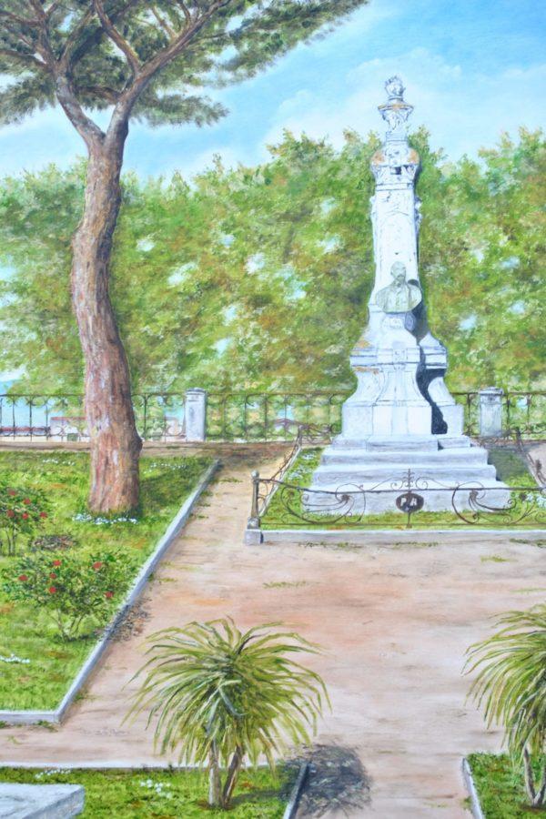 """Monumento a Pietro Aldi"" olio  su tavola cm 110×60"
