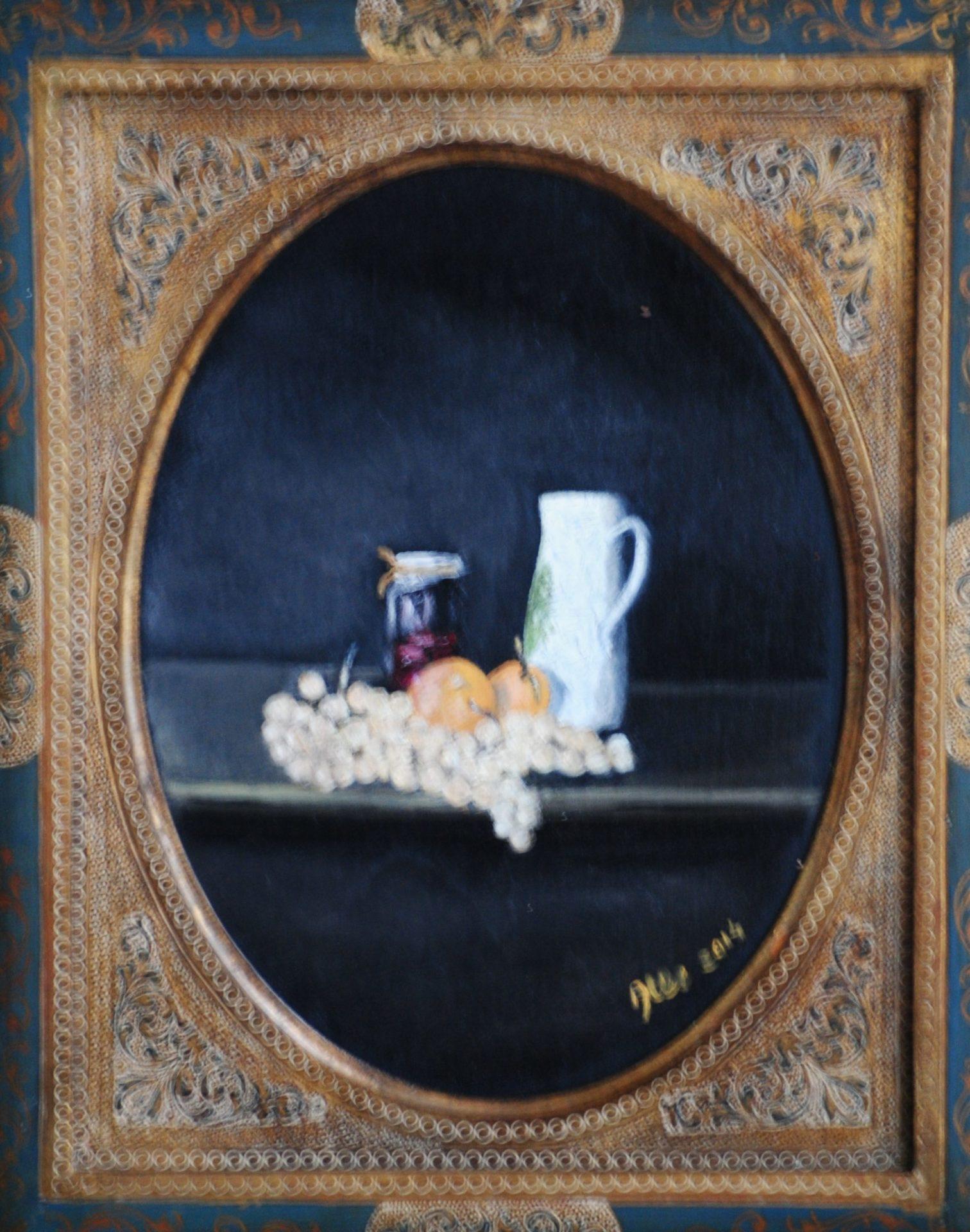 """""""Natura morta con arance e uva"""" olio su tavola cm 23×30"""