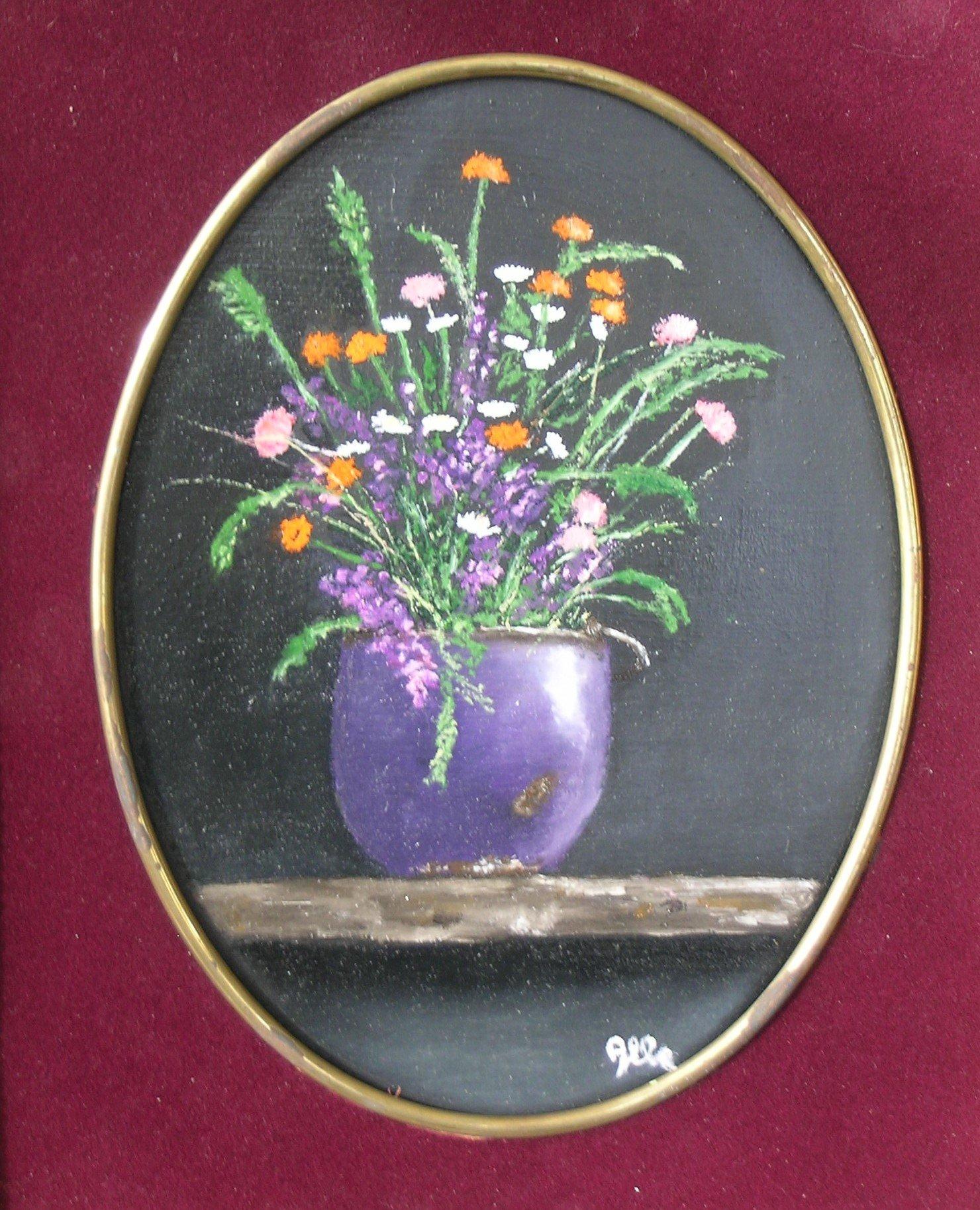 """""""Natura morta con fiori"""" olio su tavola cm 24×30"""