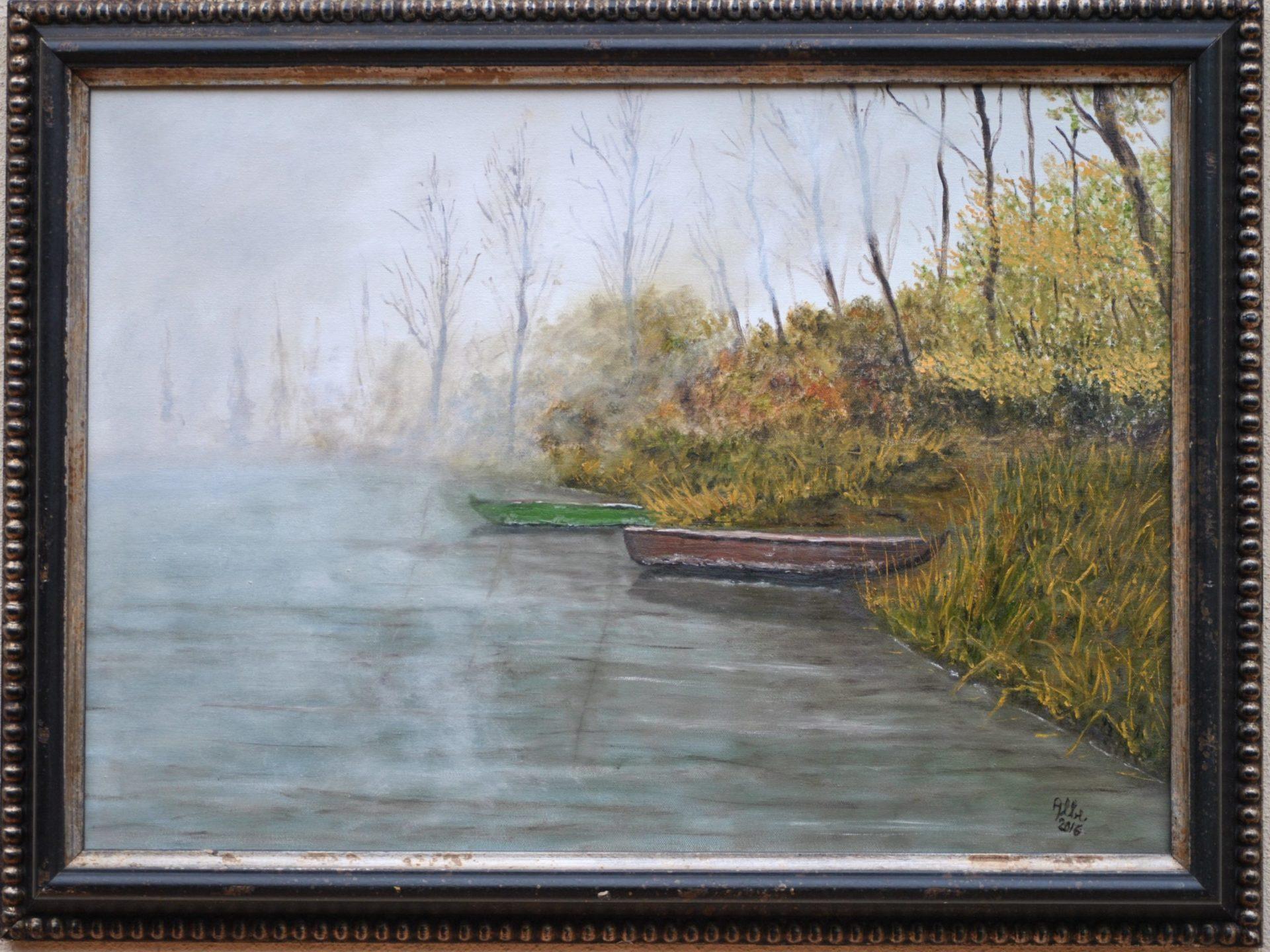 """Nebbia sul fiume"" olio su tela cm 70×50"