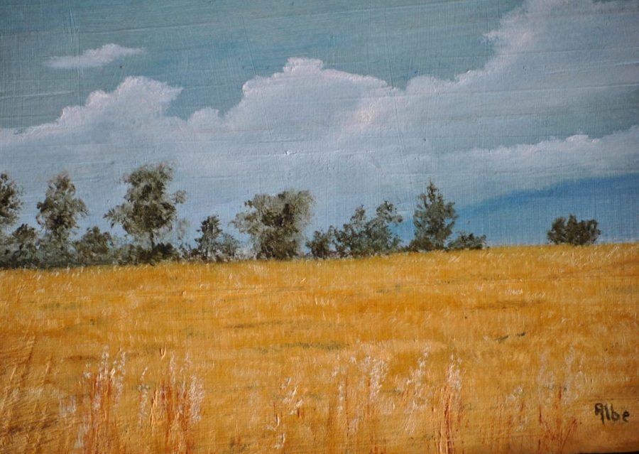 """""""Paesaggio campestre"""" olio su tavola cm 27×20"""
