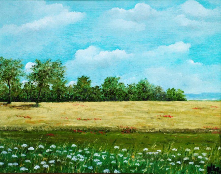 """""""Paesaggio con grano"""" olio su tavola cm 28×23"""