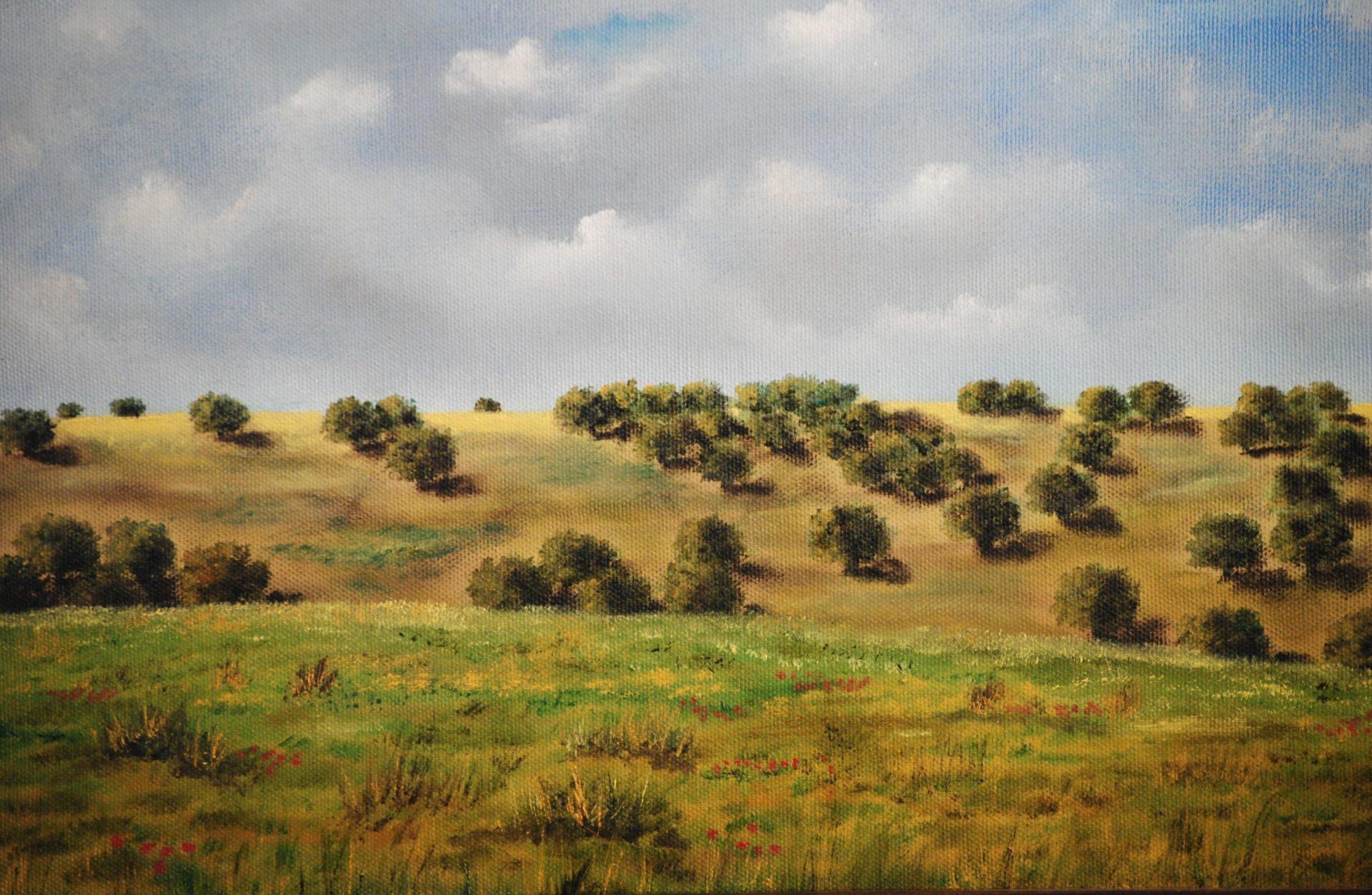 """""""Panorama con querce"""" olio su tela cm 40×30"""