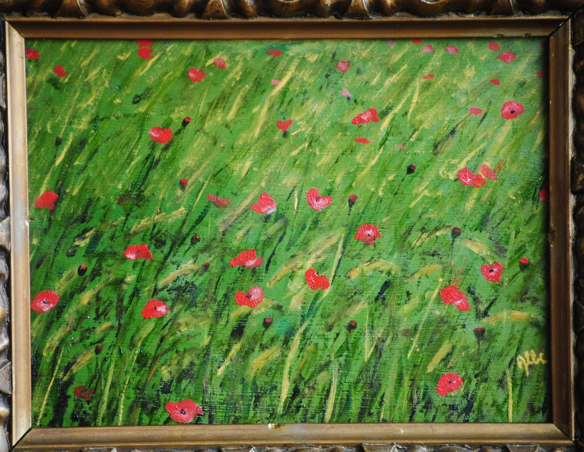"""""""Papaver rhoeas"""" olio su tavola cm 24×18"""