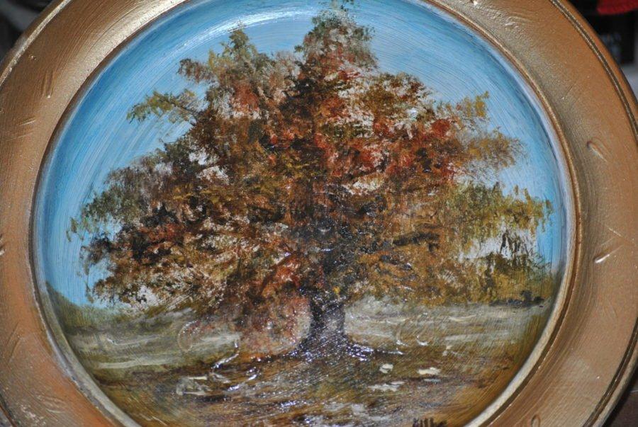 """""""Quercia in autunno"""" olio su piatto di legno  diam. cm 19"""