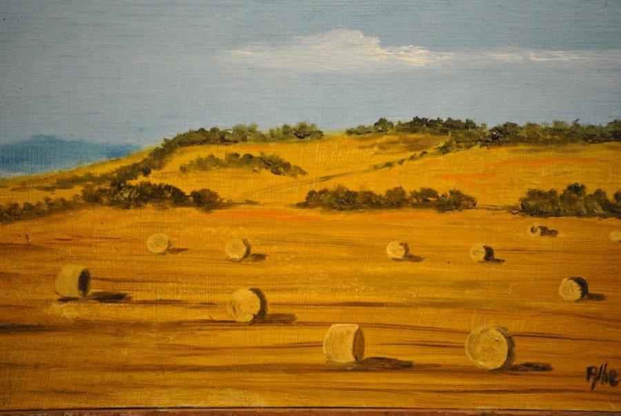 """""""Rotoloni di paglia"""" olio su tavola cm 22×12"""