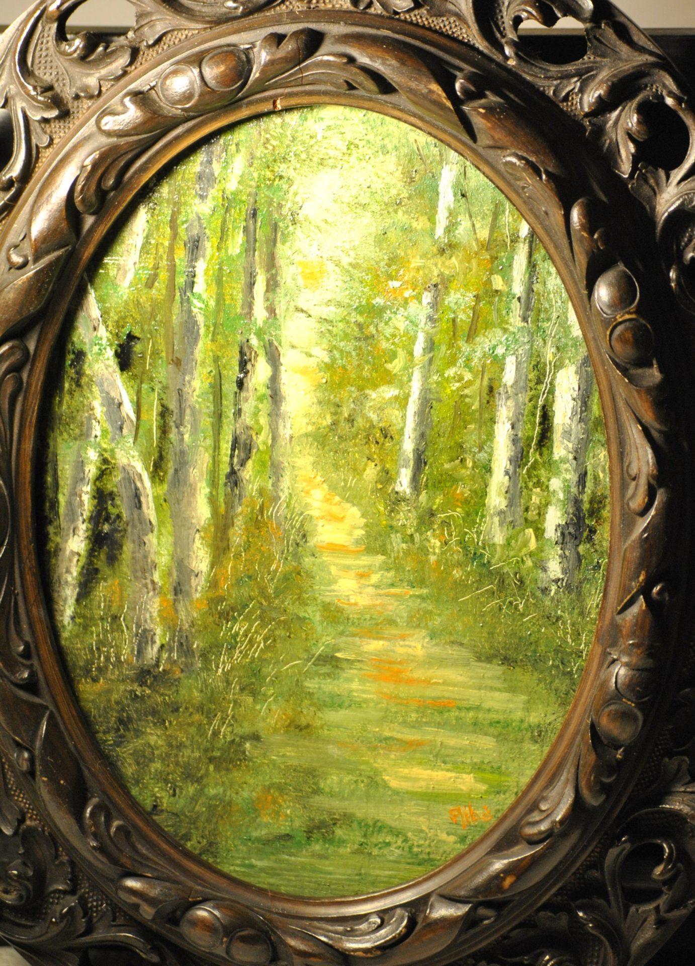 """""""Sentiero nel bosco"""" olio su tavola cm 17×23"""