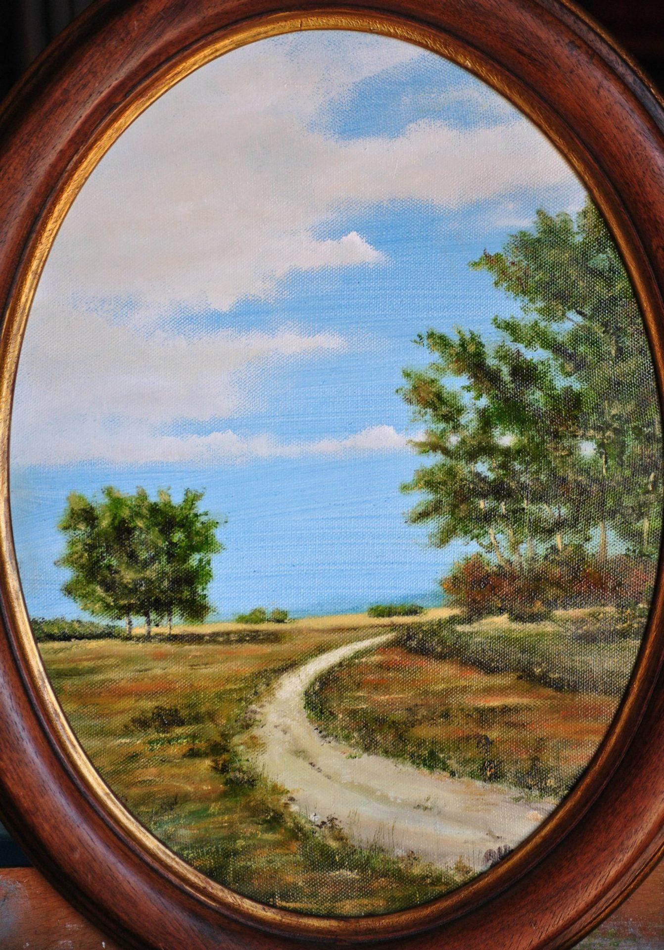 """""""Sentiero"""" olio su tela ovale cm 30×40"""