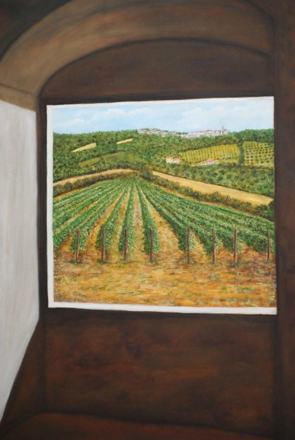 """""""Vigneto dalla finestra"""" olio su tela cm 70×50"""