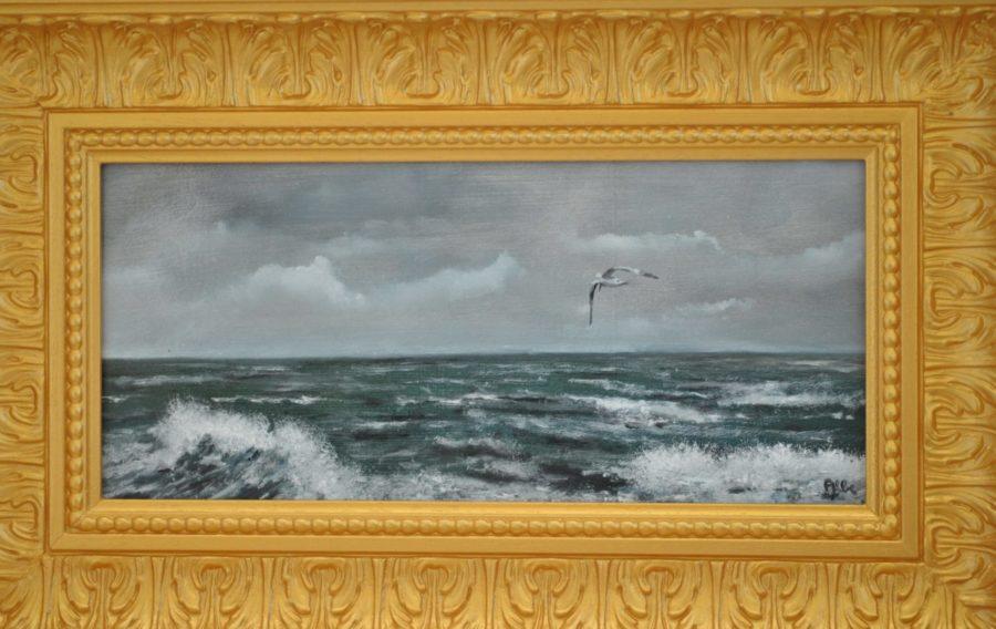 """""""Gabbiano sul mare"""" olio su tavoletta"""