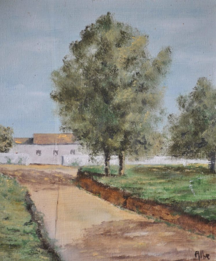 """Casa in campagna"" olio su tavola cm 20×23"