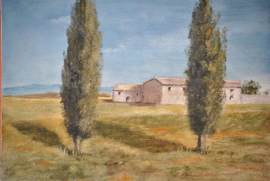 """""""Casolare con cipressi"""" olio su tavola cm 30×21"""