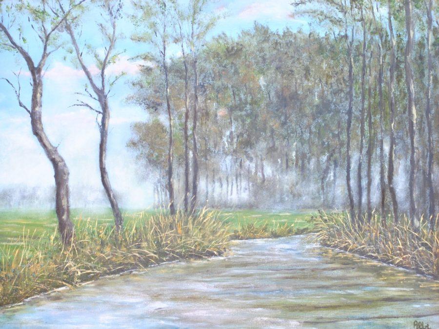 """""""Nebbia con bosco e fiume"""" olio su tela c. 50×40"""