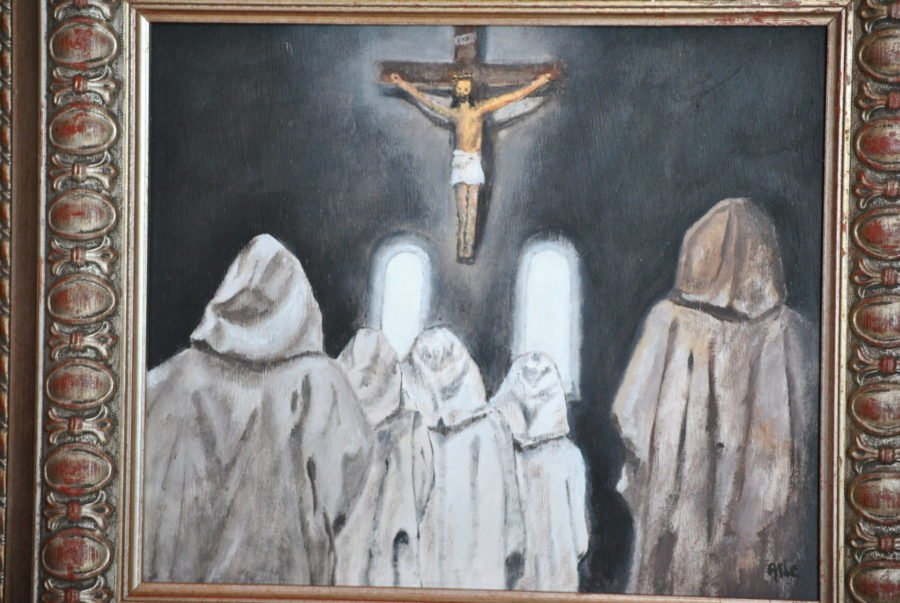 """""""Monaci"""" olio su tavola cm 38×32"""