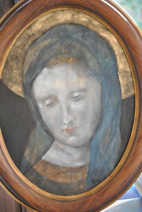 """""""Mater Dei"""" olio su tela ovale cm 30×40"""