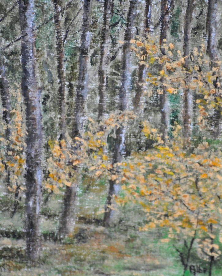 """""""Giallo nel bosco"""" olio su tavola cm 18×24"""