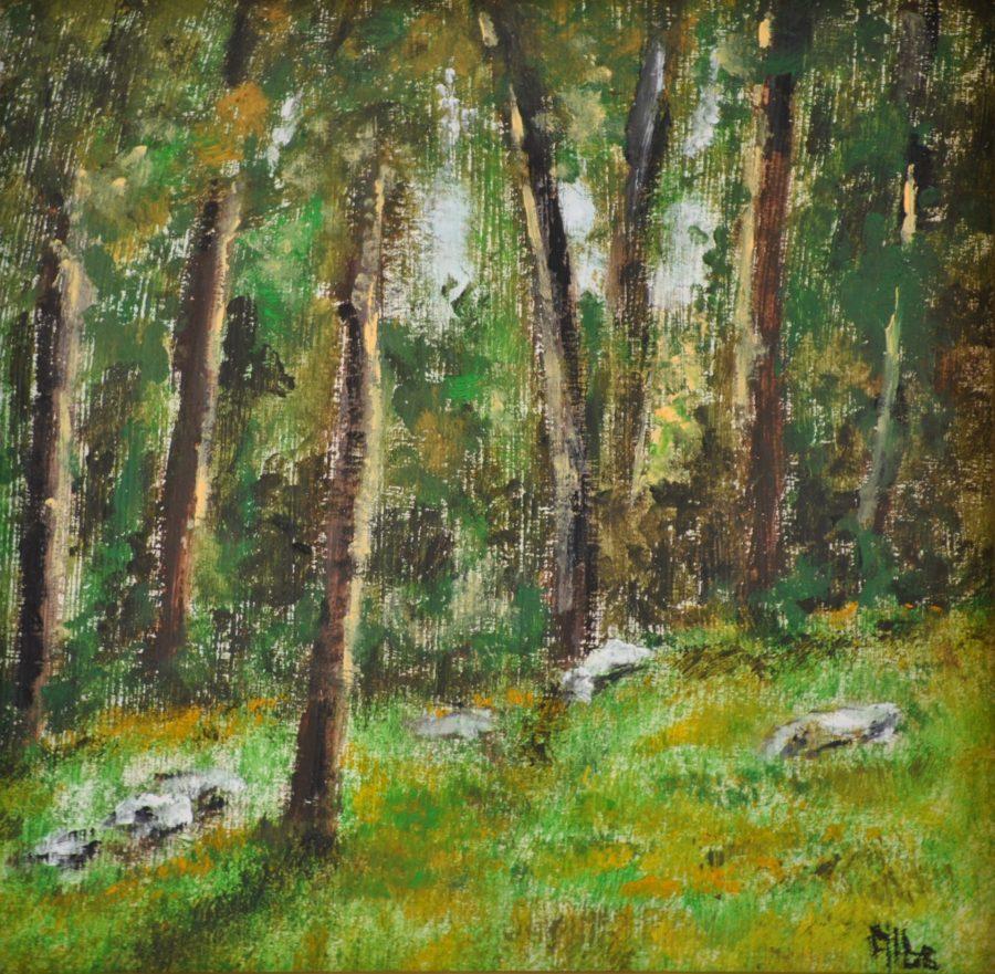 """""""Sassi nel bosco"""" olio su tavole cm 15×15"""