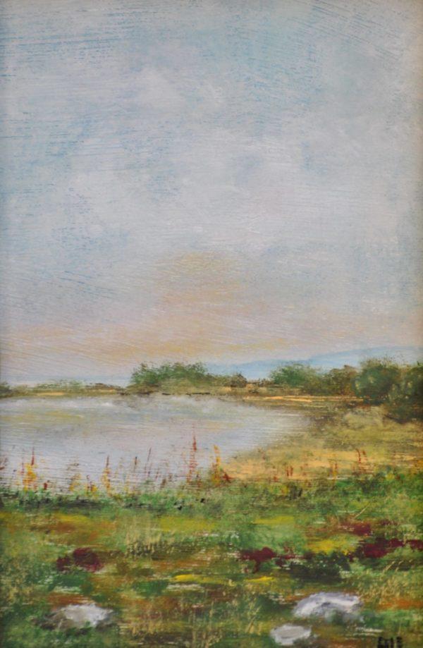 """""""Tramonto sul lago"""" olio su tavola cm 10×15"""