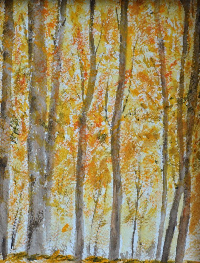 """""""Bosco in autunno"""" Acquarello e olio su carta- cm 20×25"""
