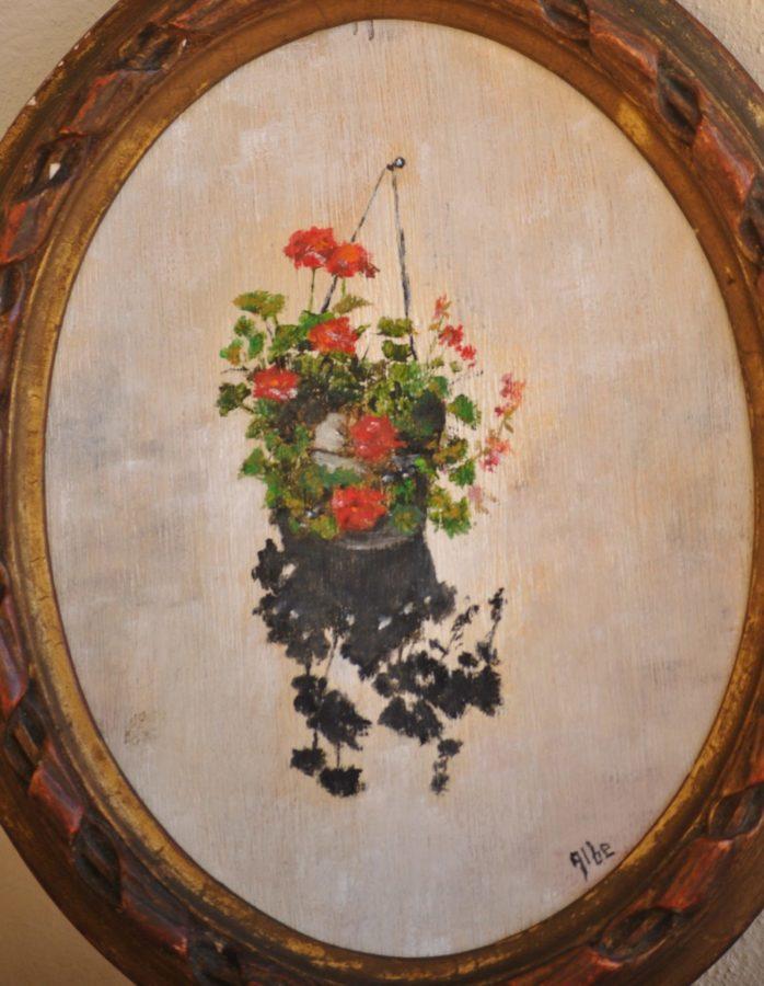 """Il geranio"" – olio su tavola ovale cm 18×23"
