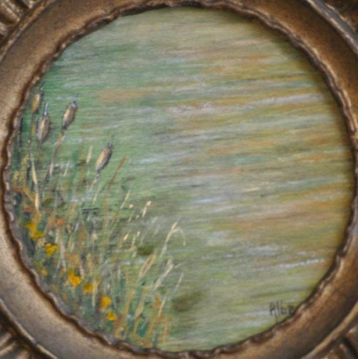"""Lungo il fiume"" olio su tavola rotonda – diam. cm 13"