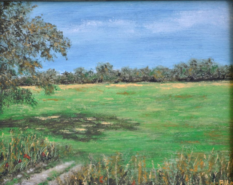 """Prato verde"" olio su tavola cm 25×21"