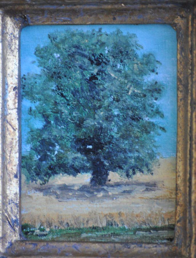 """""""Quercia con grano"""" olio su tavoletta cm 7×9"""