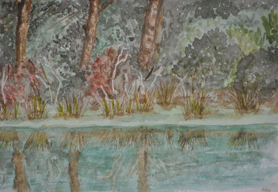 """""""Riflessi sull'acqua"""" acquarello su carta cm 33×26"""