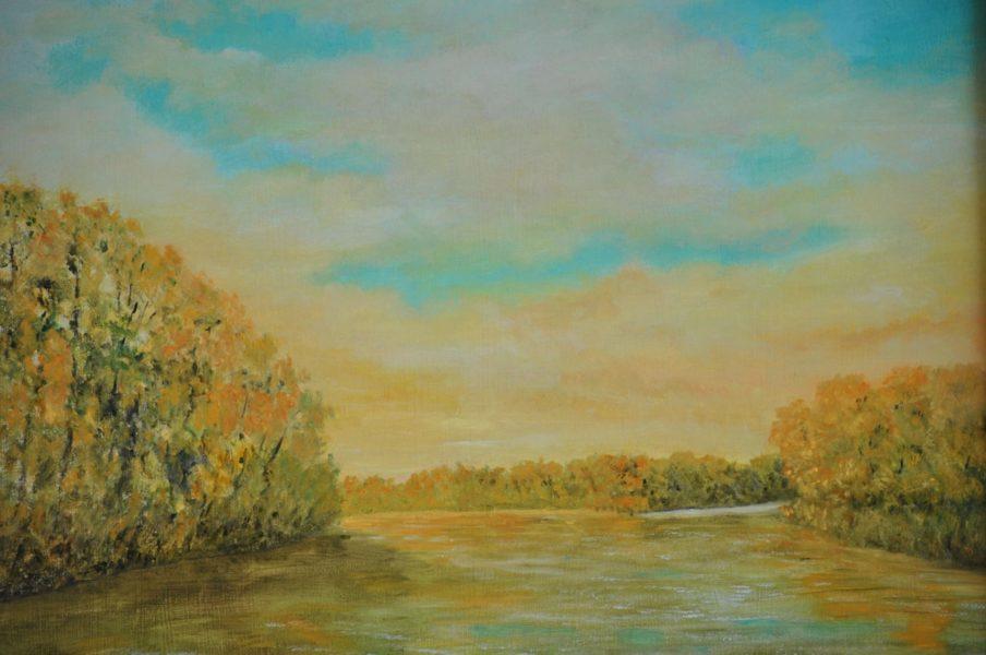 """Fiume al tramonto"""" olio su tela cm 50×40"""
