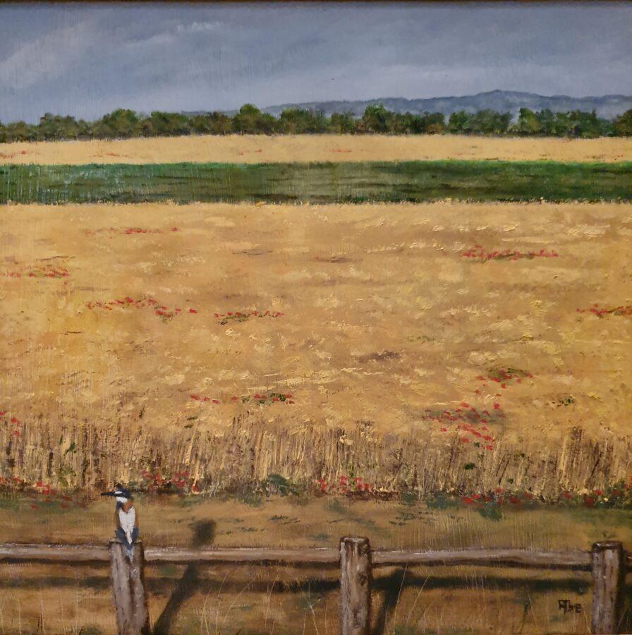 """""""Il gruccione""""- olio su tavola cm 40×37"""