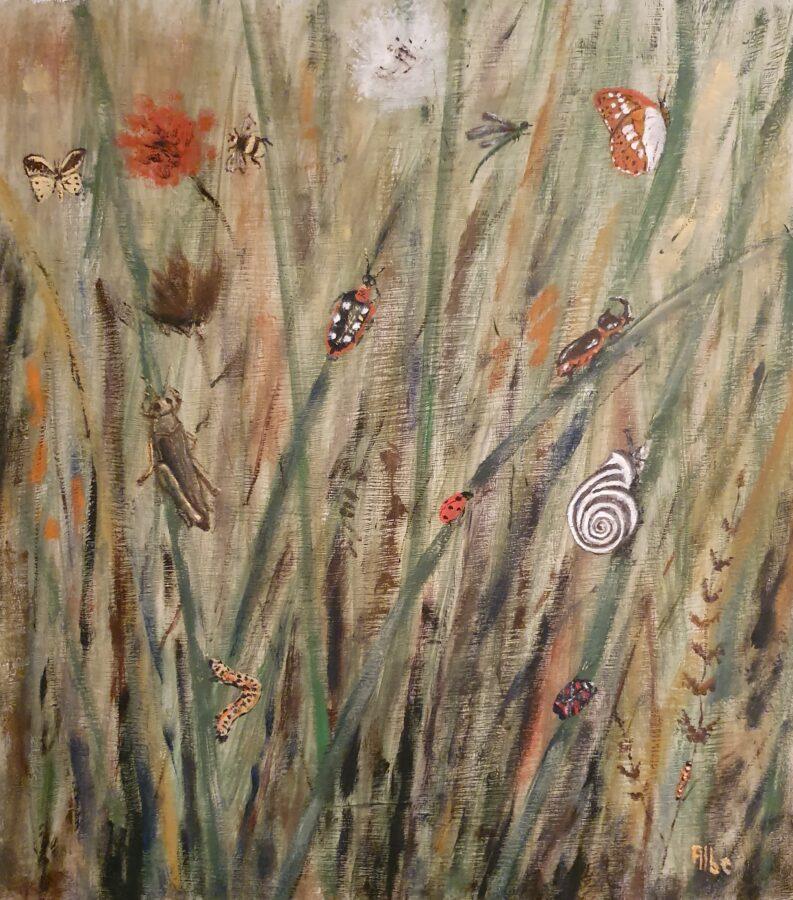 """Vita nell'erba""- olio su tavola cm 42×47"