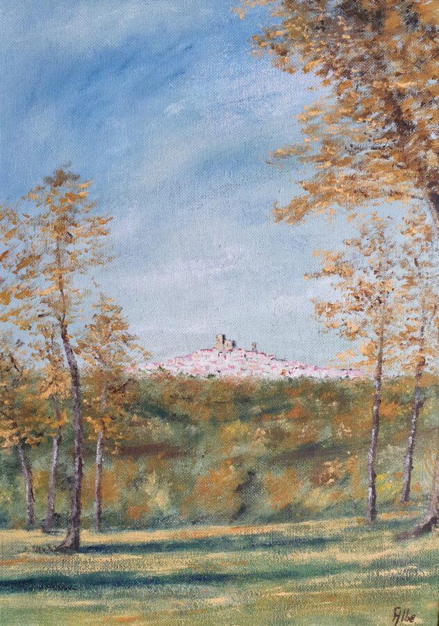 """""""Panorama di Manciano in autunno""""- olio su tavola cm 36×50"""